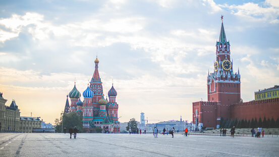 Red Square with Saint Basil's Cathedral and Saviour's Tower at morning twilight, Landmark of Moscow, Russia